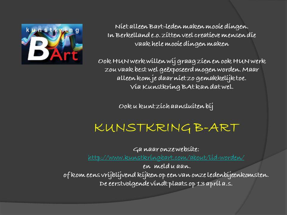 Niet alleen Bart-leden maken mooie dingen. In Berkelland e.o.