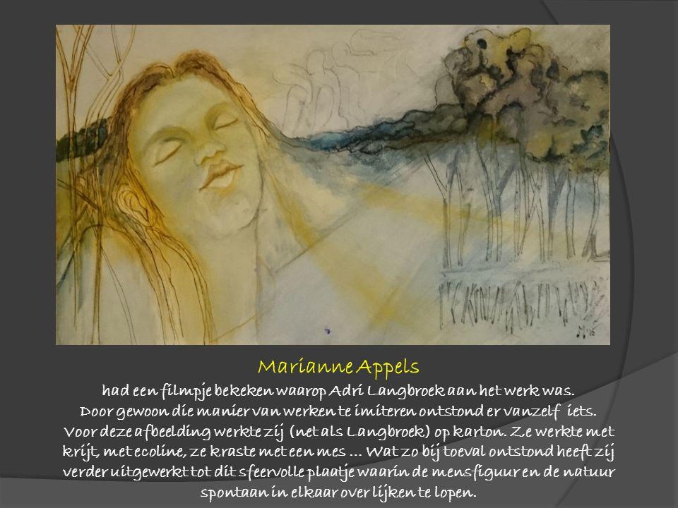 Geïnspireerd door de verwevenheid van de vrouwenfiguur met de achtergrond, het lijnenspel en de wijze waarop met diepte gewerkt wordt probeerde Marion Schmitz om die elementen op haar eigen manier te verwerken.