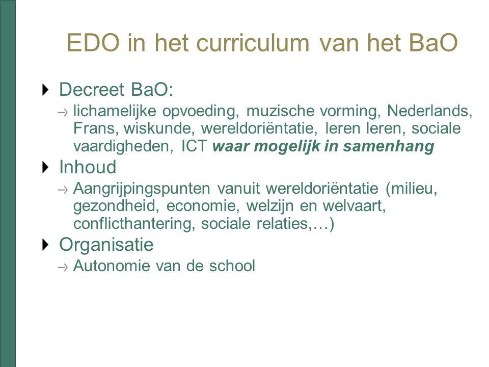 EDO in het curriculum van het BaO Decreet BaO: lichamelijke opvoeding, muzische vorming, Nederlands, Frans, wiskunde, wereldoriëntatie, leren leren, s