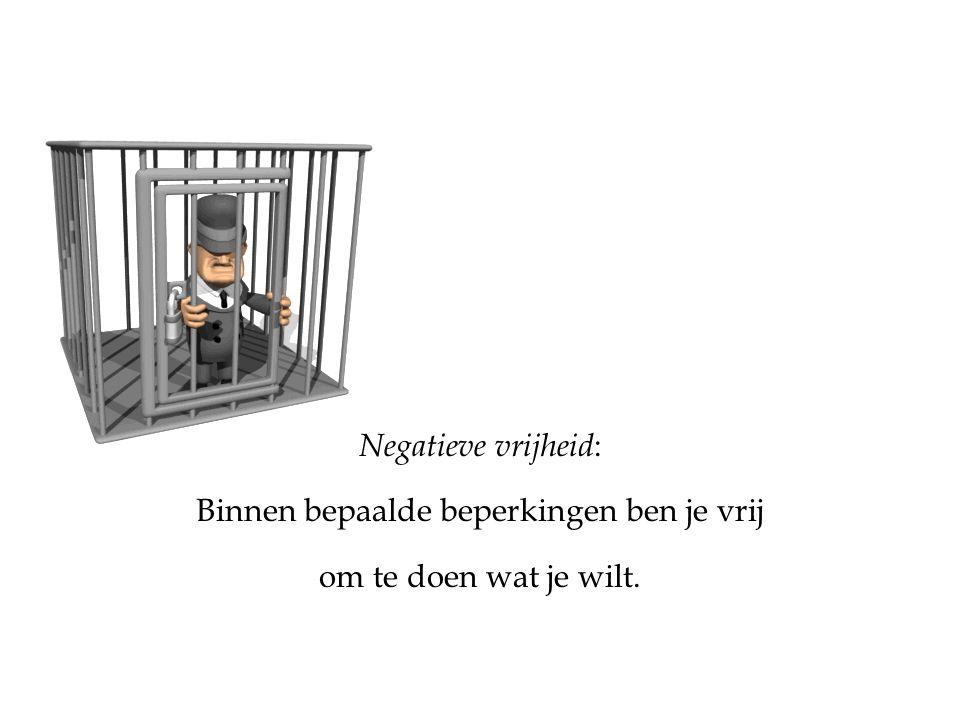 Negatieve vrijheid : Binnen bepaalde beperkingen ben je vrij om te doen wat je wilt.