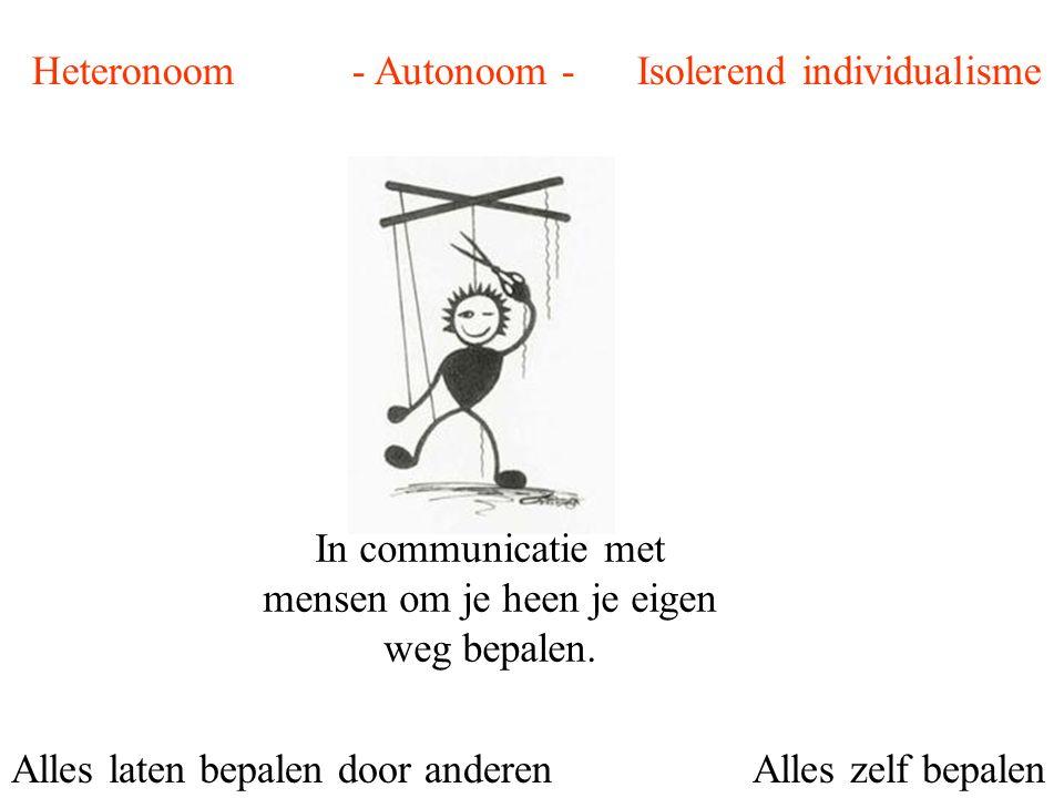 Heteronoom - Autonoom - Isolerend individualisme Alles laten bepalen door anderenAlles zelf bepalen In communicatie met mensen om je heen je eigen weg bepalen.