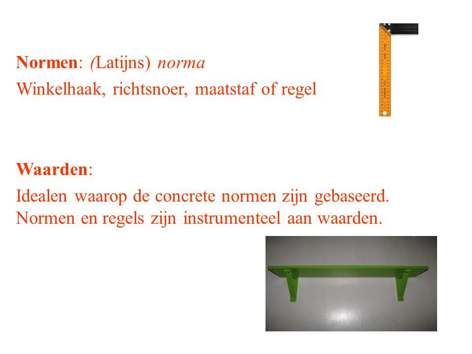Normen: (Latijns) norma Winkelhaak, richtsnoer, maatstaf of regel Waarden: Idealen waarop de concrete normen zijn gebaseerd. Normen en regels zijn ins