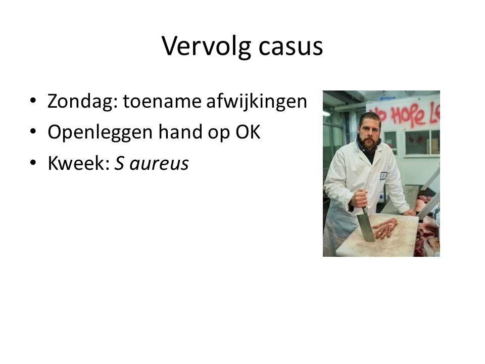 Vervolg casus Zondag: toename afwijkingen Openleggen hand op OK Kweek: S aureus