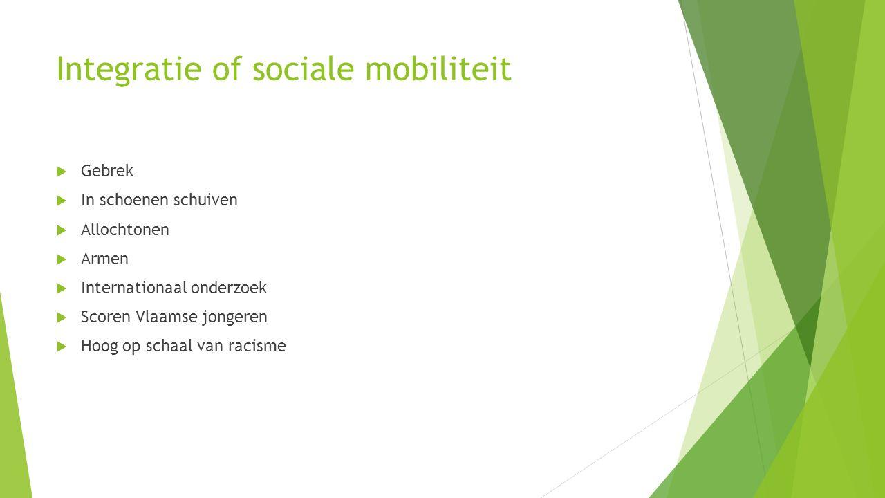 Integratie of sociale mobiliteit  Gebrek  In schoenen schuiven  Allochtonen  Armen  Internationaal onderzoek  Scoren Vlaamse jongeren  Hoog op schaal van racisme