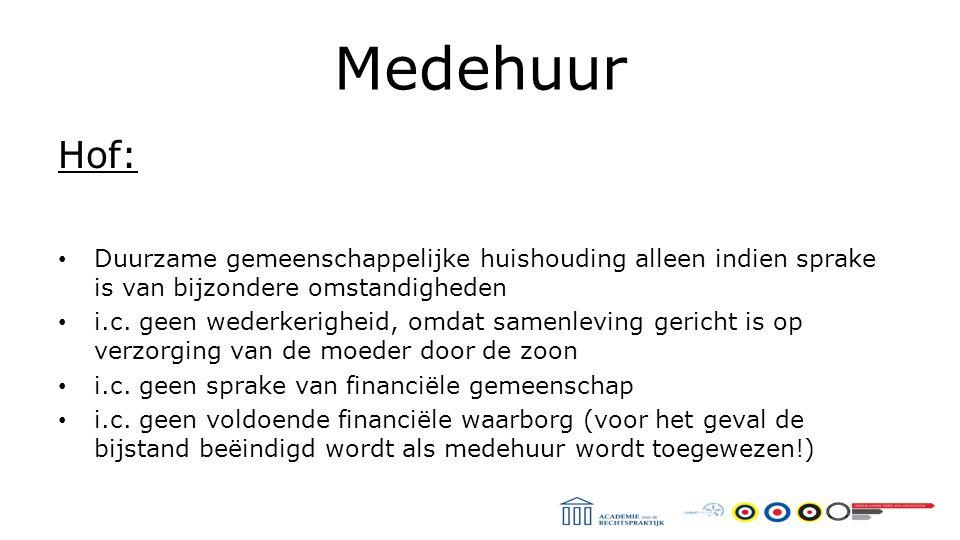 Medehuur Hof: Duurzame gemeenschappelijke huishouding alleen indien sprake is van bijzondere omstandigheden i.c.