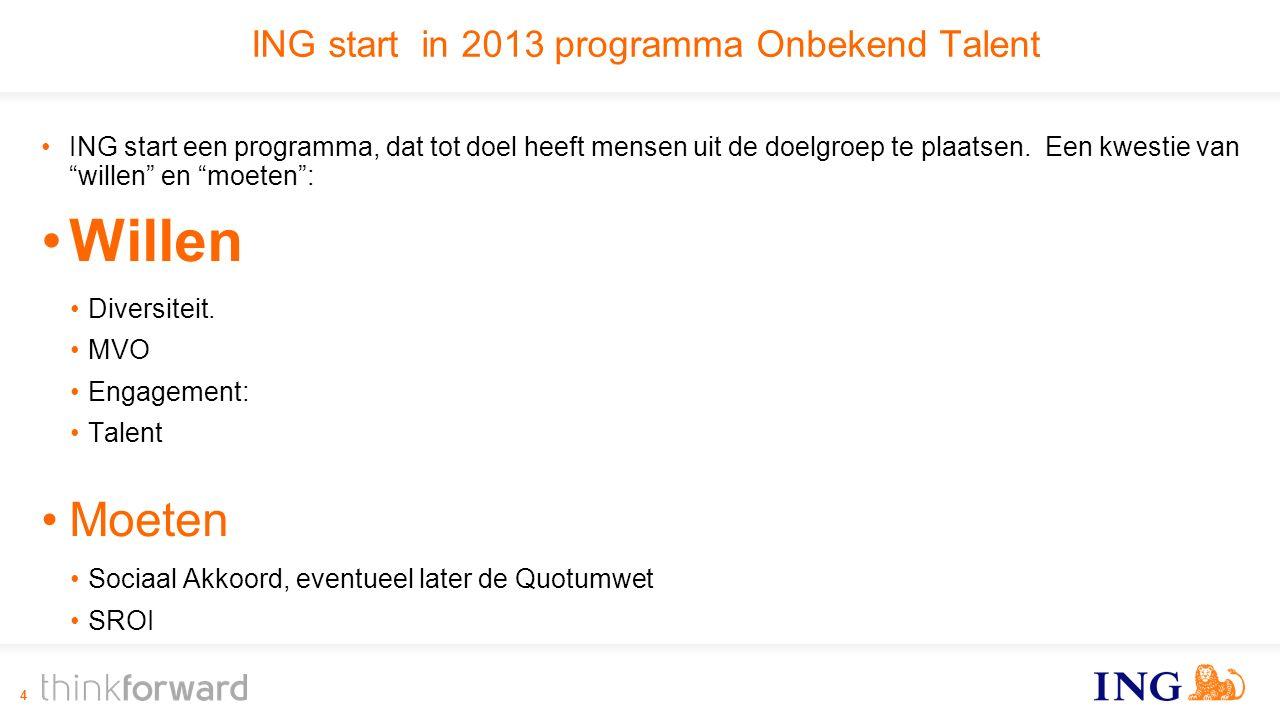 ING start in 2013 programma Onbekend Talent ING start een programma, dat tot doel heeft mensen uit de doelgroep te plaatsen.