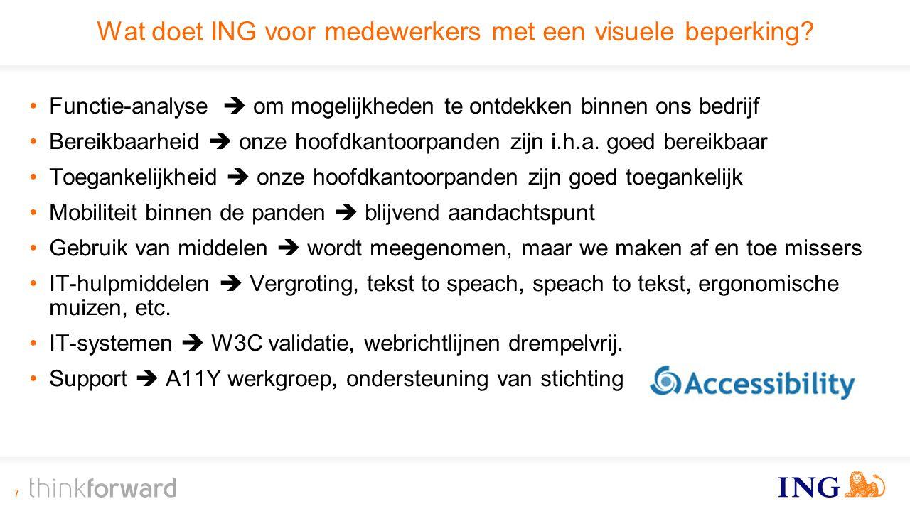 Wat doet ING voor medewerkers met een visuele beperking.