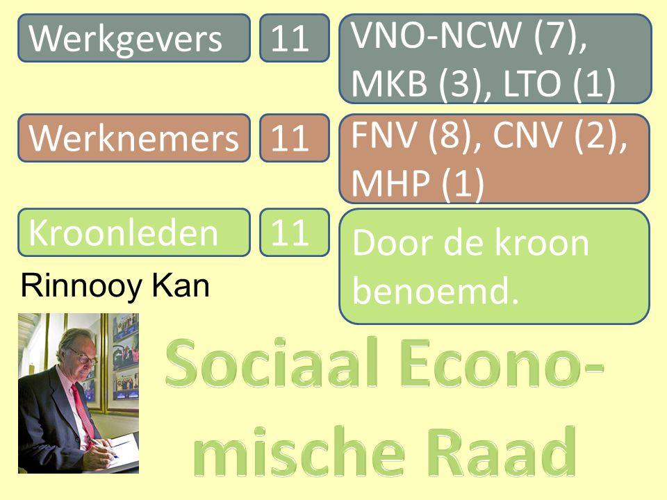 Werknemers Werkgevers 11 Kroonleden11 VNO-NCW (7), MKB (3), LTO (1) FNV (8), CNV (2), MHP (1) Door de kroon benoemd.