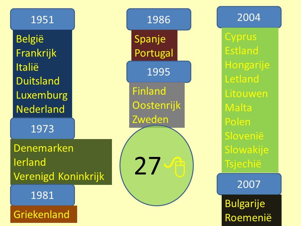 1951 België Frankrijk Italië Duitsland Luxemburg Nederland 1973 Denemarken Ierland Verenigd Koninkrijk 1981 Griekenland 1986 Spanje Portugal 1995 Finland Oostenrijk Zweden 2004 2007 Bulgarije Roemenië Cyprus Estland Hongarije Letland Litouwen Malta Polen Slovenië Slowakije Tsjechië 27 