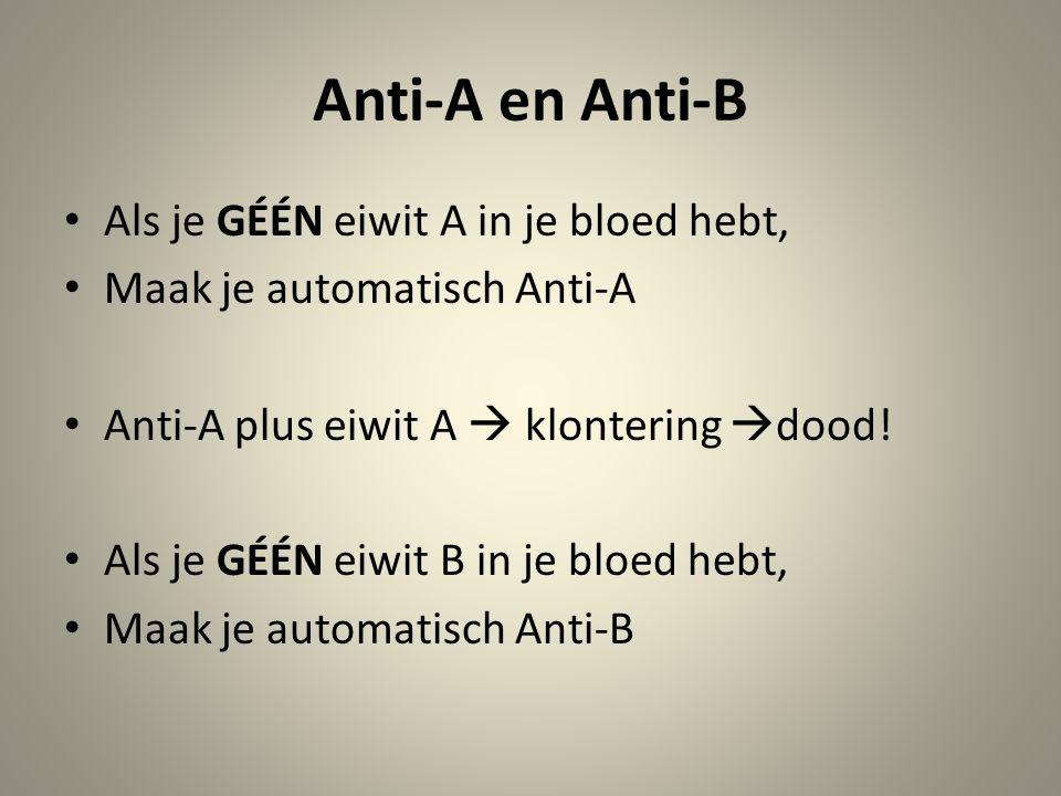 Anti-A en Anti-B Als je GÉÉN eiwit A in je bloed hebt, Maak je automatisch Anti-A Anti-A plus eiwit A  klontering  dood.