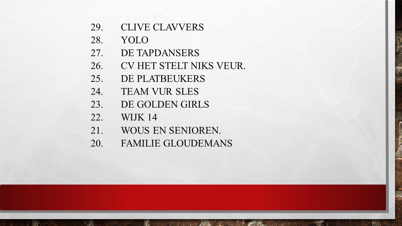 29.CLIVE CLAVVERS 28. YOLO 27. DE TAPDANSERS 26. CV HET STELT NIKS VEUR.