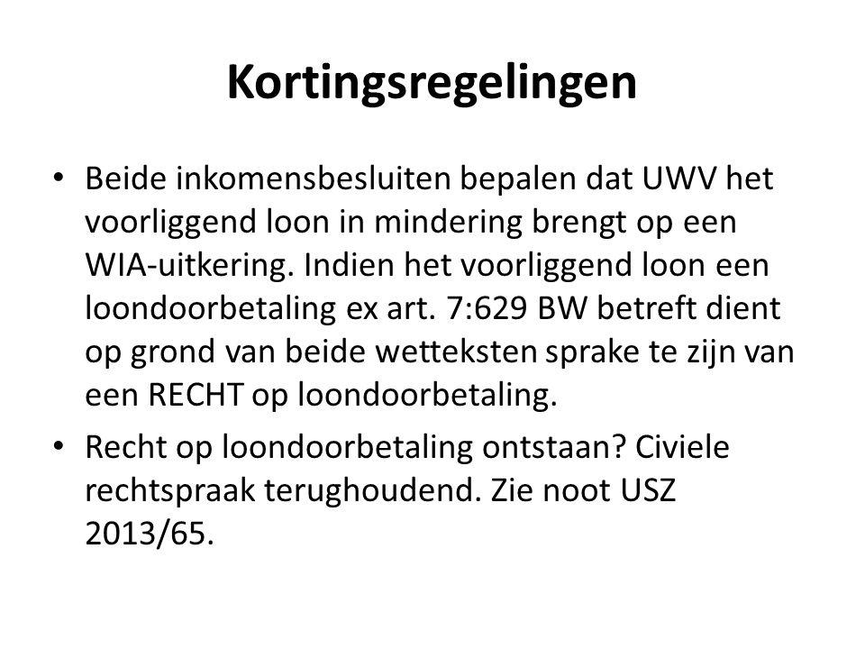 Kortingsregelingen Beide inkomensbesluiten bepalen dat UWV het voorliggend loon in mindering brengt op een WIA-uitkering.
