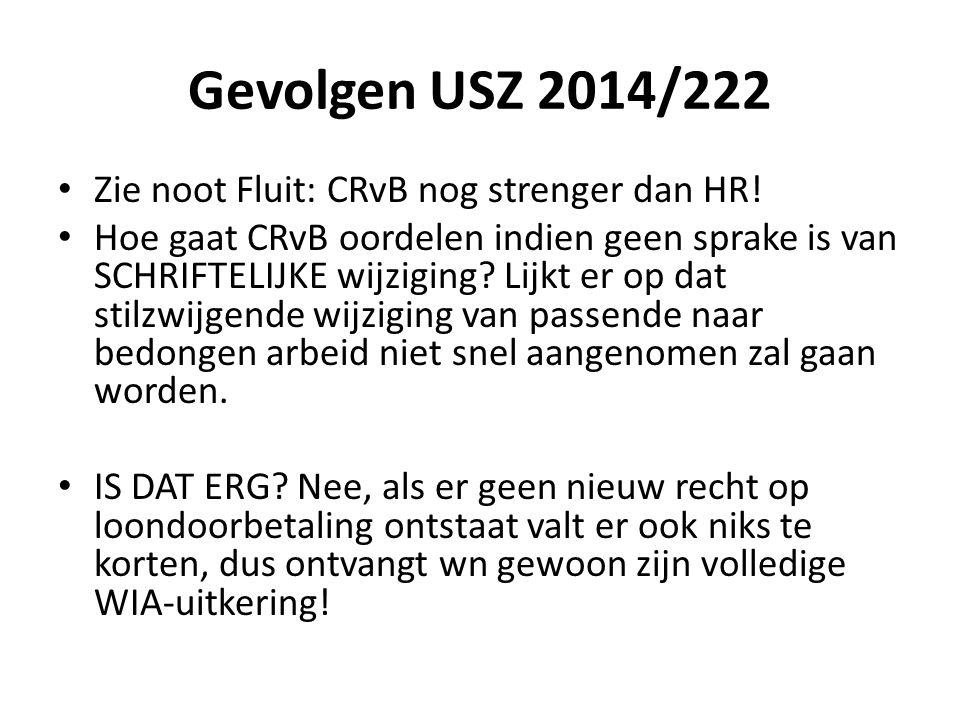 Gevolgen USZ 2014/222 Zie noot Fluit: CRvB nog strenger dan HR! Hoe gaat CRvB oordelen indien geen sprake is van SCHRIFTELIJKE wijziging? Lijkt er op