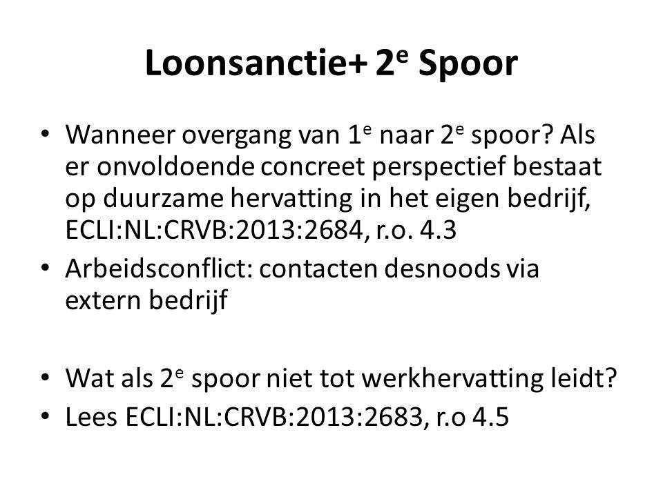 Loonsanctie+ 2 e Spoor Wanneer overgang van 1 e naar 2 e spoor? Als er onvoldoende concreet perspectief bestaat op duurzame hervatting in het eigen be