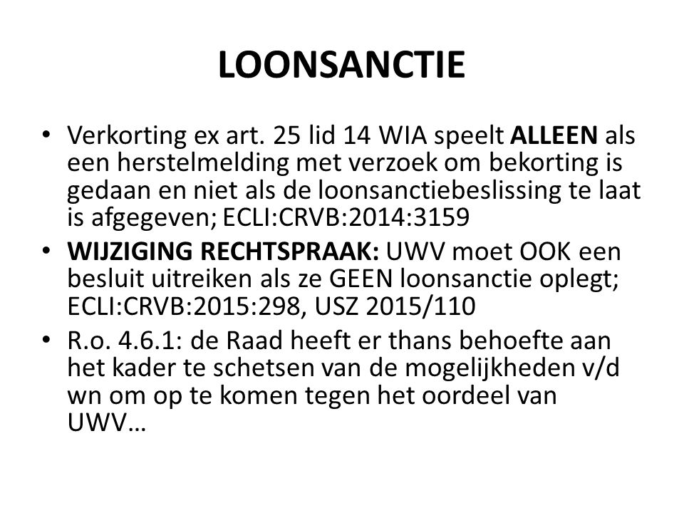 LOONSANCTIE Verkorting ex art.