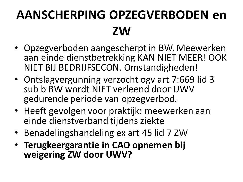 AANSCHERPING OPZEGVERBODEN en ZW Opzegverboden aangescherpt in BW.