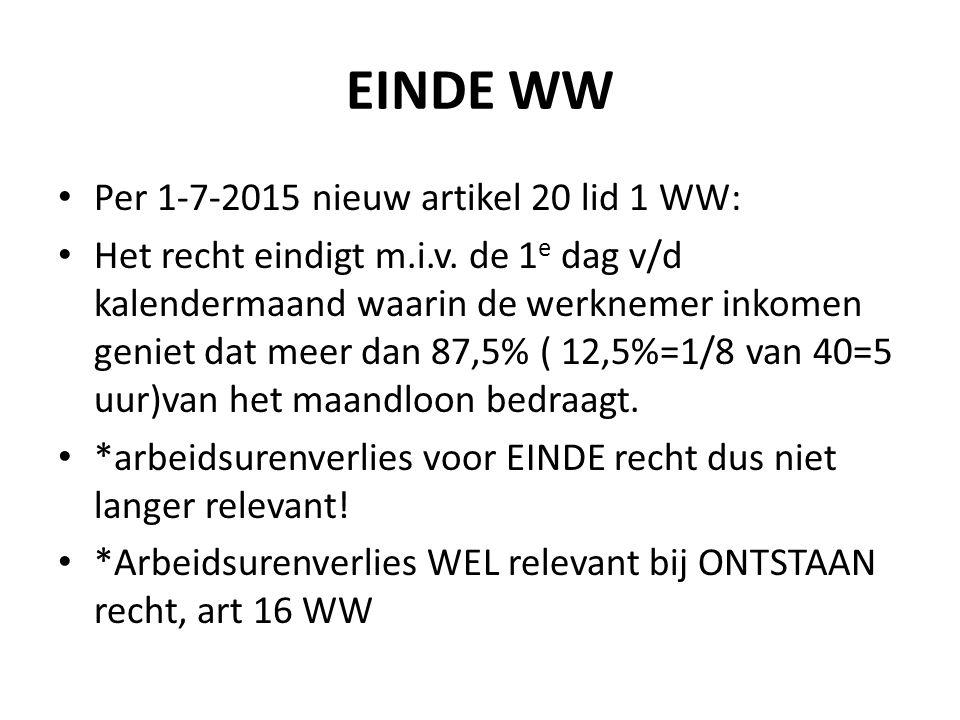 EINDE WW Per 1-7-2015 nieuw artikel 20 lid 1 WW: Het recht eindigt m.i.v. de 1 e dag v/d kalendermaand waarin de werknemer inkomen geniet dat meer dan