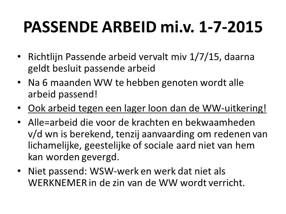 PASSENDE ARBEID mi.v. 1-7-2015 Richtlijn Passende arbeid vervalt miv 1/7/15, daarna geldt besluit passende arbeid Na 6 maanden WW te hebben genoten wo