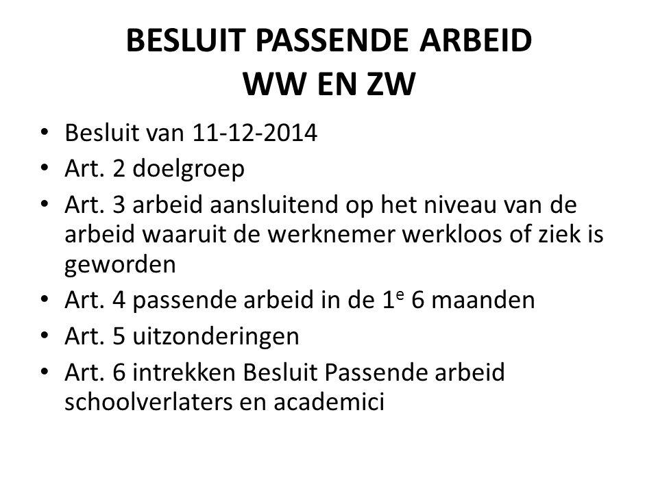 BESLUIT PASSENDE ARBEID WW EN ZW Besluit van 11-12-2014 Art. 2 doelgroep Art. 3 arbeid aansluitend op het niveau van de arbeid waaruit de werknemer we