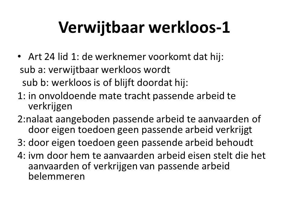 Verwijtbaar werkloos-1 Art 24 lid 1: de werknemer voorkomt dat hij: sub a: verwijtbaar werkloos wordt sub b: werkloos is of blijft doordat hij: 1: in