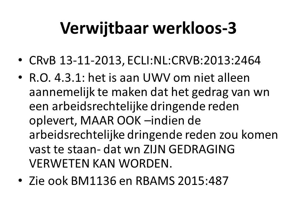 Verwijtbaar werkloos-3 CRvB 13-11-2013, ECLI:NL:CRVB:2013:2464 R.O. 4.3.1: het is aan UWV om niet alleen aannemelijk te maken dat het gedrag van wn ee