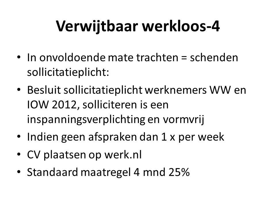 Verwijtbaar werkloos-4 In onvoldoende mate trachten = schenden sollicitatieplicht: Besluit sollicitatieplicht werknemers WW en IOW 2012, solliciteren