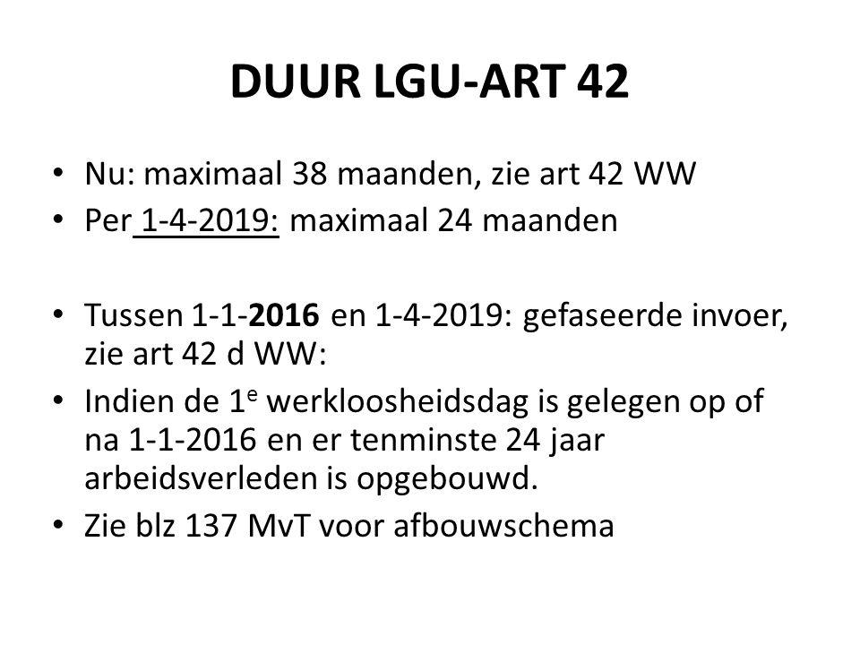 DUUR LGU-ART 42 Nu: maximaal 38 maanden, zie art 42 WW Per 1-4-2019: maximaal 24 maanden Tussen 1-1-2016 en 1-4-2019: gefaseerde invoer, zie art 42 d WW: Indien de 1 e werkloosheidsdag is gelegen op of na 1-1-2016 en er tenminste 24 jaar arbeidsverleden is opgebouwd.
