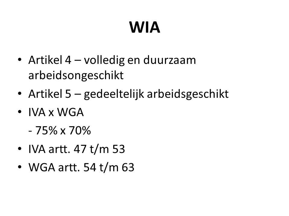 WIA Artikel 4 – volledig en duurzaam arbeidsongeschikt Artikel 5 – gedeeltelijk arbeidsgeschikt IVA x WGA - 75% x 70% IVA artt. 47 t/m 53 WGA artt. 54