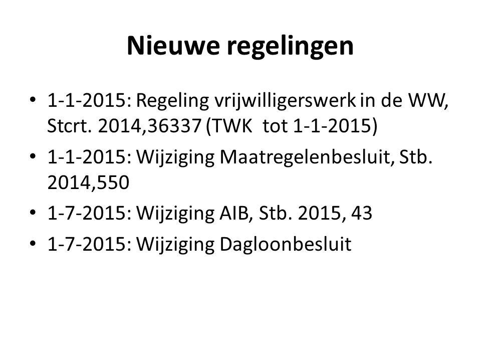 Nieuwe regelingen 1-1-2015: Regeling vrijwilligerswerk in de WW, Stcrt. 2014,36337 (TWK tot 1-1-2015) 1-1-2015: Wijziging Maatregelenbesluit, Stb. 201