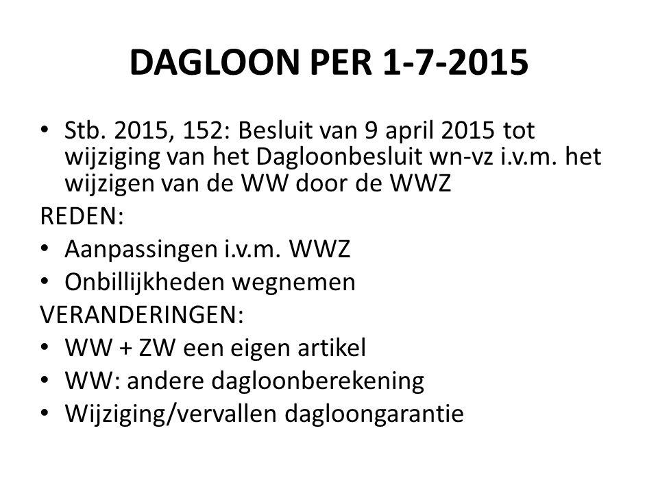 DAGLOON PER 1-7-2015 Stb. 2015, 152: Besluit van 9 april 2015 tot wijziging van het Dagloonbesluit wn-vz i.v.m. het wijzigen van de WW door de WWZ RED