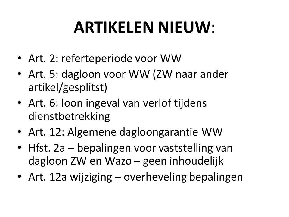 ARTIKELEN NIEUW: Art. 2: referteperiode voor WW Art. 5: dagloon voor WW (ZW naar ander artikel/gesplitst) Art. 6: loon ingeval van verlof tijdens dien