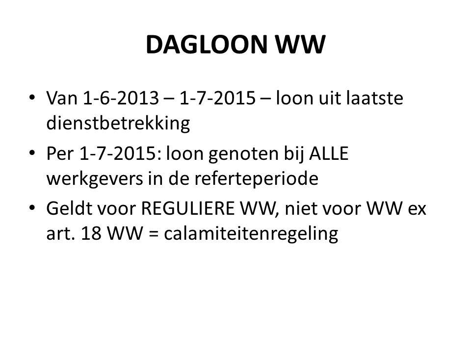 DAGLOON WW Van 1-6-2013 – 1-7-2015 – loon uit laatste dienstbetrekking Per 1-7-2015: loon genoten bij ALLE werkgevers in de referteperiode Geldt voor