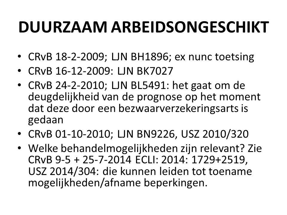 DUURZAAM ARBEIDSONGESCHIKT CRvB 18-2-2009; LJN BH1896; ex nunc toetsing CRvB 16-12-2009: LJN BK7027 CRvB 24-2-2010; LJN BL5491: het gaat om de deugdelijkheid van de prognose op het moment dat deze door een bezwaarverzekeringsarts is gedaan CRvB 01-10-2010; LJN BN9226, USZ 2010/320 Welke behandelmogelijkheden zijn relevant.