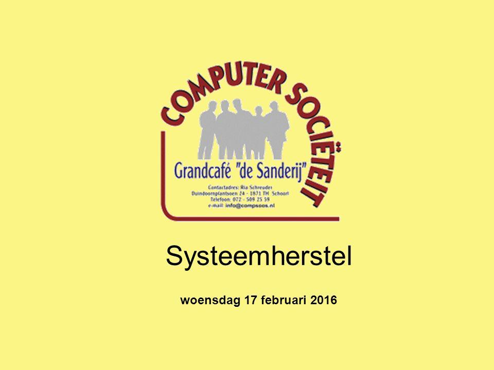 Systeemherstel woensdag 17 februari 2016