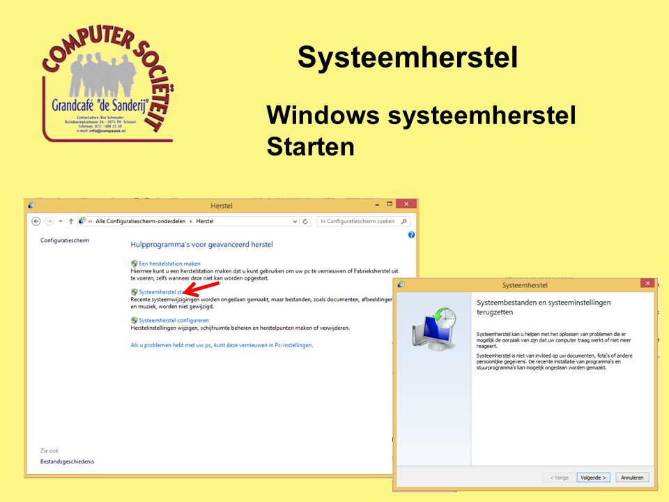 Systeemherstel Windows systeemherstel Starten
