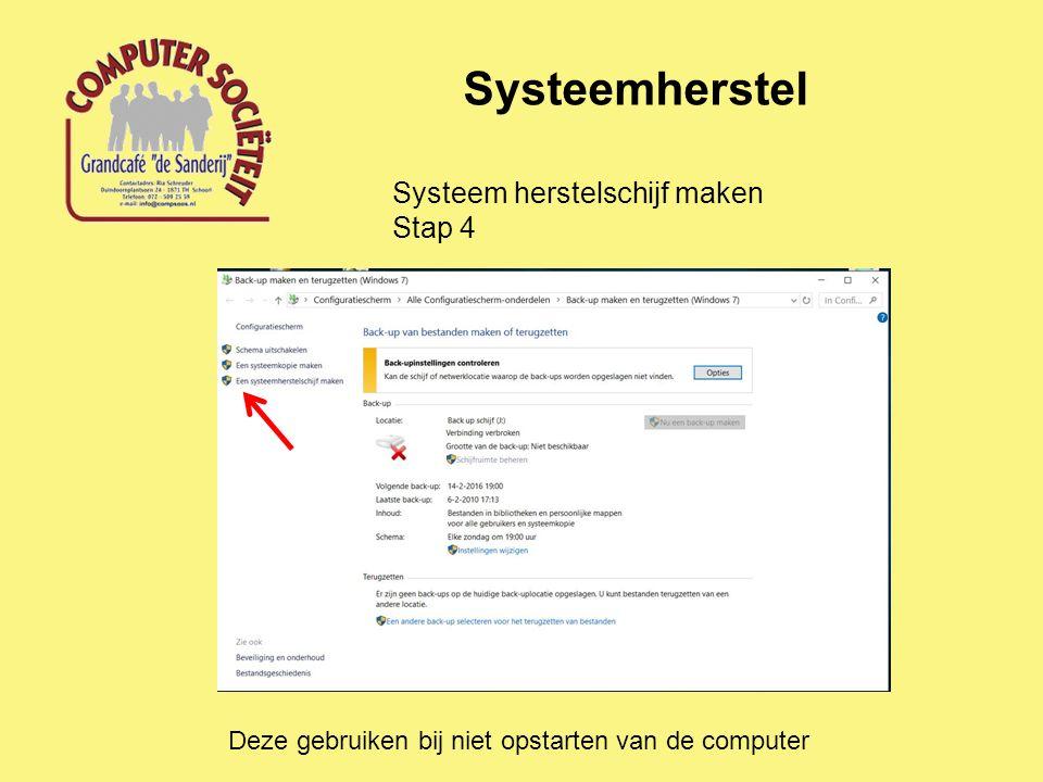 Systeemherstel Systeem herstelschijf maken Stap 4 Deze gebruiken bij niet opstarten van de computer