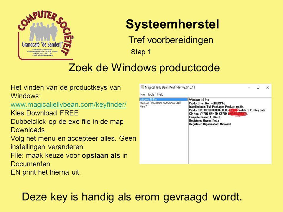 Systeemherstel Vermoeden van een virus- of spyware-besmetting.