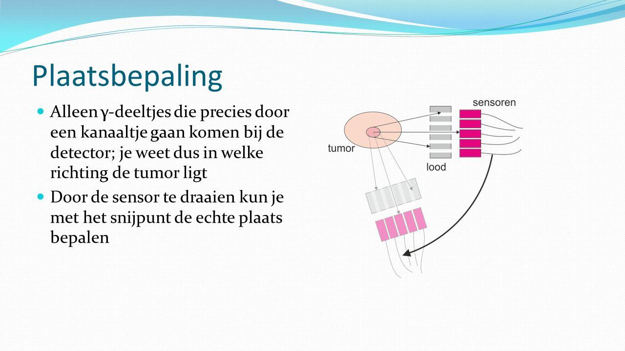 Plaatsbepaling Alleen γ-deeltjes die precies door een kanaaltje gaan komen bij de detector; je weet dus in welke richting de tumor ligt Door de sensor