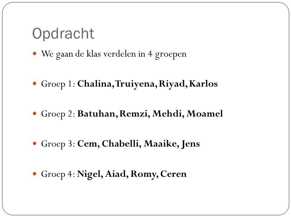 Opdracht We gaan de klas verdelen in 4 groepen Groep 1: Chalina, Truiyena, Riyad, Karlos Groep 2: Batuhan, Remzi, Mehdi, Moamel Groep 3: Cem, Chabelli, Maaike, Jens Groep 4: Nigel, Aiad, Romy, Ceren