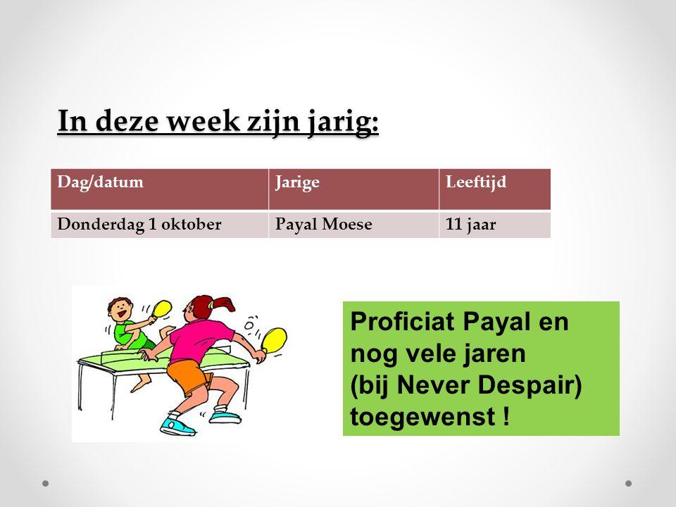 In deze week zijn jarig: Dag/datumJarigeLeeftijd Donderdag 1 oktoberPayal Moese11 jaar Proficiat Payal en nog vele jaren (bij Never Despair) toegewenst !