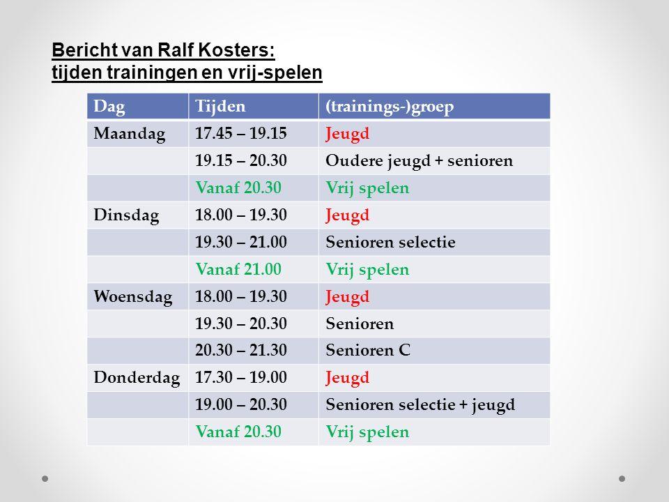 DagTijden(trainings-)groep Maandag17.45 – 19.15Jeugd 19.15 – 20.30Oudere jeugd + senioren Vanaf 20.30Vrij spelen Dinsdag18.00 – 19.30Jeugd 19.30 – 21.00Senioren selectie Vanaf 21.00Vrij spelen Woensdag18.00 – 19.30Jeugd 19.30 – 20.30Senioren 20.30 – 21.30Senioren C Donderdag17.30 – 19.00Jeugd 19.00 – 20.30Senioren selectie + jeugd Vanaf 20.30Vrij spelen Bericht van Ralf Kosters: tijden trainingen en vrij-spelen