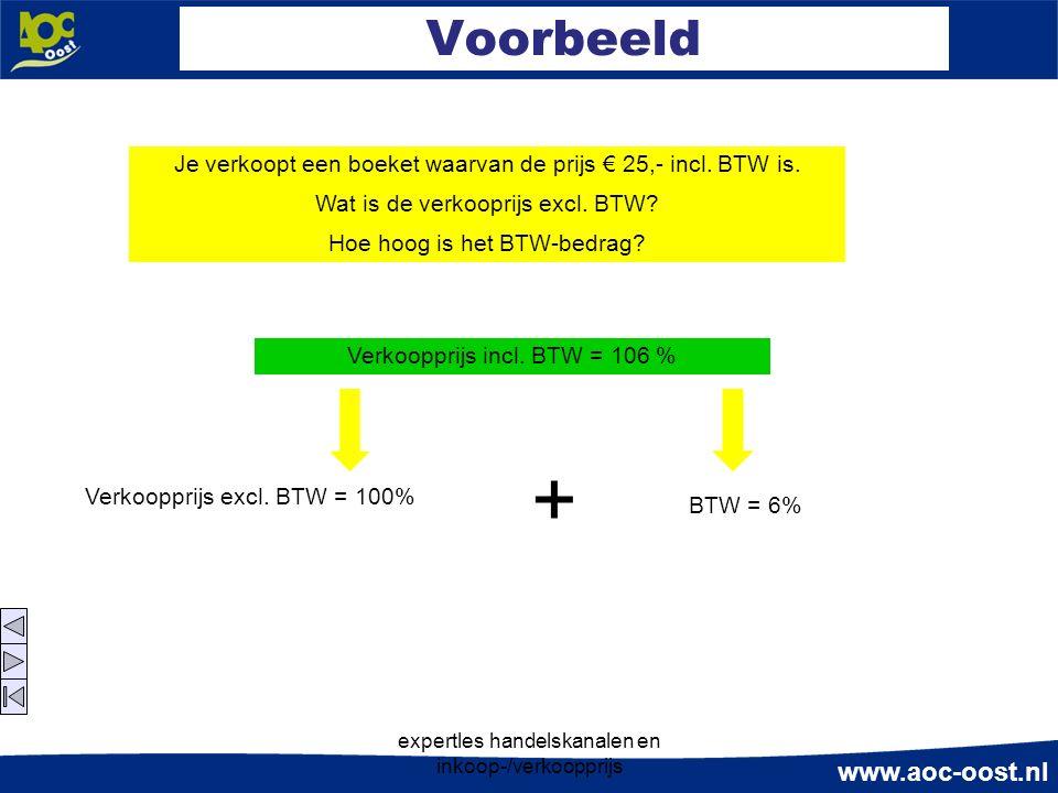 www.aoc-oost.nl expertles handelskanalen en inkoop-/verkoopprijs Voorbeeld Je verkoopt een boeket waarvan de prijs € 25,- incl. BTW is. Wat is de verk