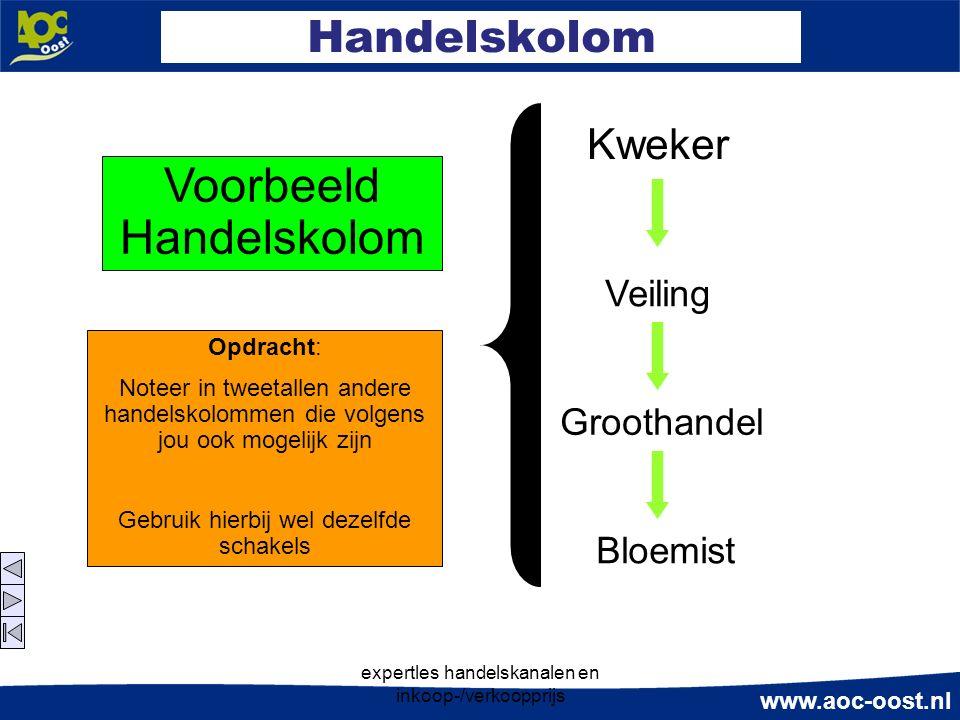 www.aoc-oost.nl expertles handelskanalen en inkoop-/verkoopprijs Handelskolom Veiling Kweker Groothandel Bloemist Voorbeeld Handelskolom Opdracht: Not