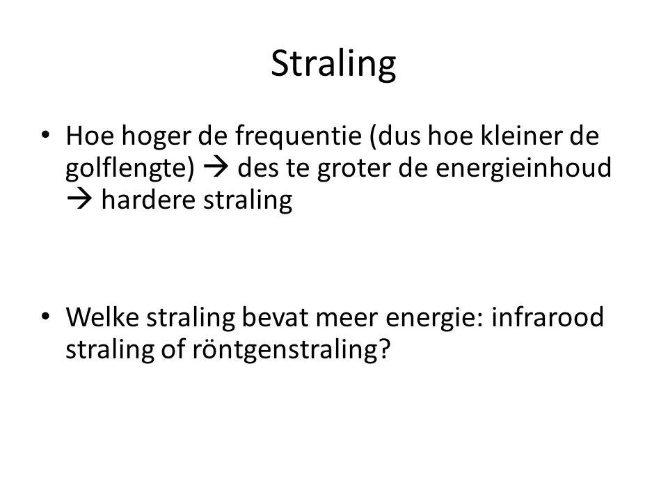 Straling Hoe hoger de frequentie (dus hoe kleiner de golflengte)  des te groter de energieinhoud  hardere straling Welke straling bevat meer energie