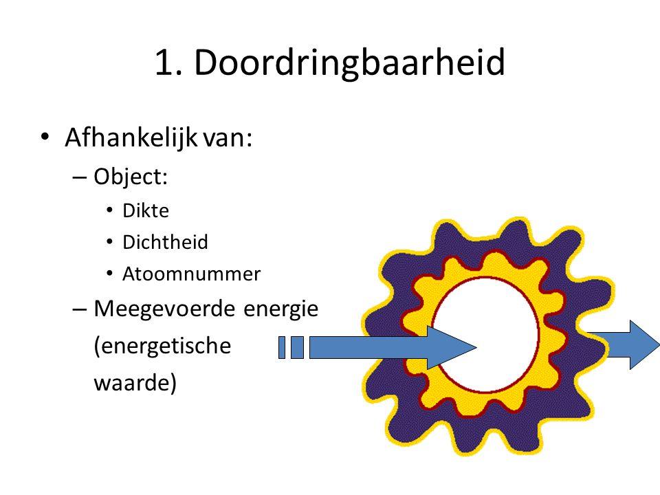 1. Doordringbaarheid Afhankelijk van: – Object: Dikte Dichtheid Atoomnummer – Meegevoerde energie (energetische waarde)