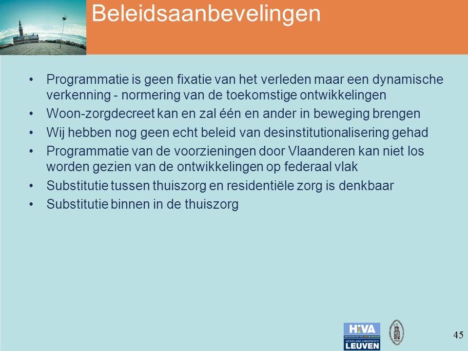 45 Beleidsaanbevelingen Programmatie is geen fixatie van het verleden maar een dynamische verkenning - normering van de toekomstige ontwikkelingen Woon-zorgdecreet kan en zal één en ander in beweging brengen Wij hebben nog geen echt beleid van desinstitutionalisering gehad Programmatie van de voorzieningen door Vlaanderen kan niet los worden gezien van de ontwikkelingen op federaal vlak Substitutie tussen thuiszorg en residentiële zorg is denkbaar Substitutie binnen in de thuiszorg