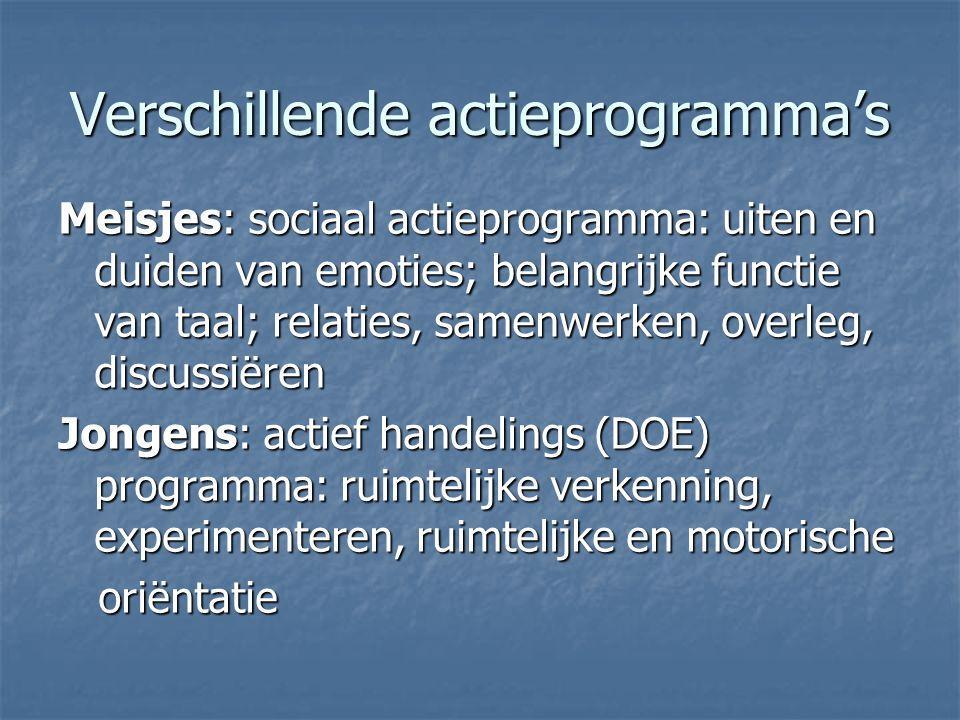 Verschillende actieprogramma's Meisjes: sociaal actieprogramma: uiten en duiden van emoties; belangrijke functie van taal; relaties, samenwerken, over