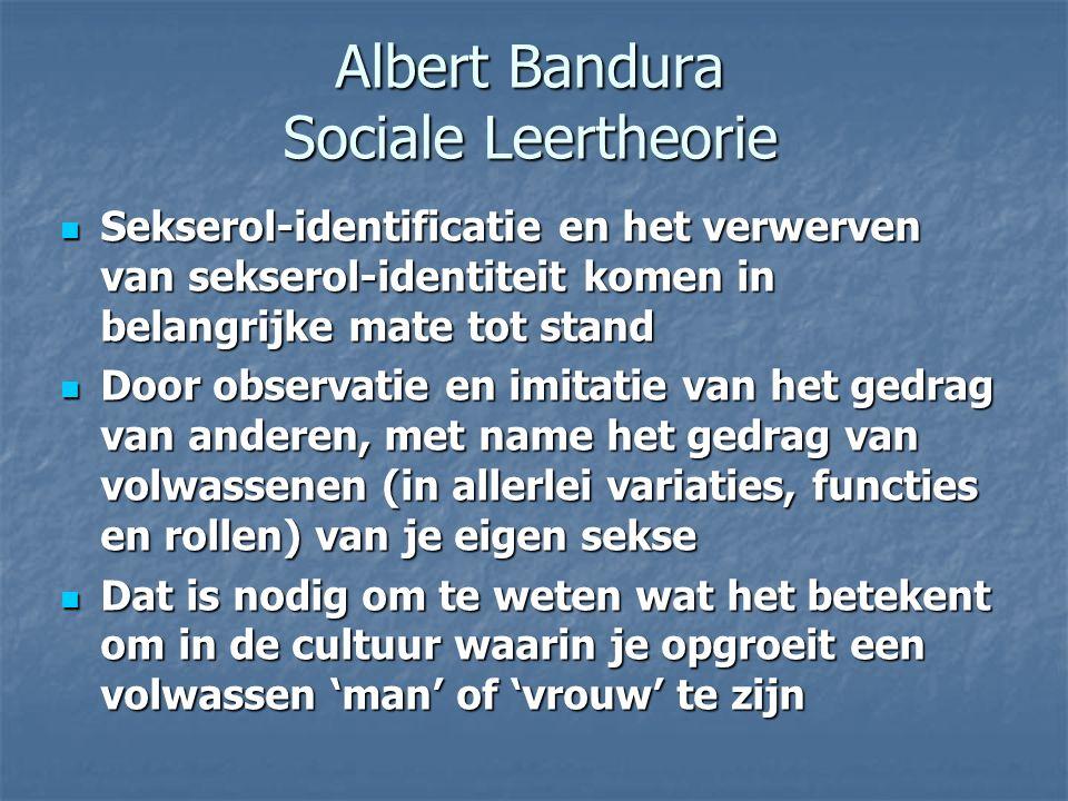 Albert Bandura Sociale Leertheorie Sekserol-identificatie en het verwerven van sekserol-identiteit komen in belangrijke mate tot stand Sekserol-identi