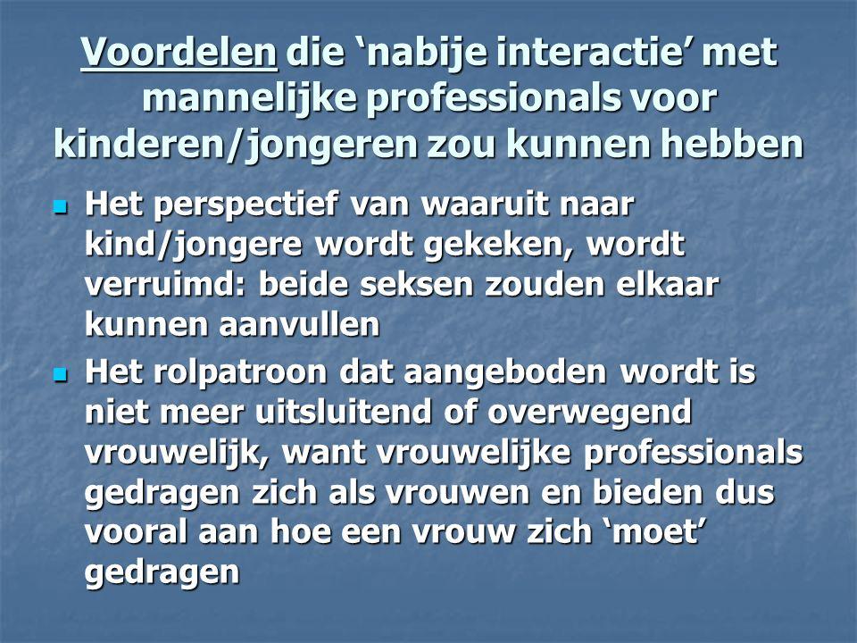 Voordelen die 'nabije interactie' met mannelijke professionals voor kinderen/jongeren zou kunnen hebben Het perspectief van waaruit naar kind/jongere