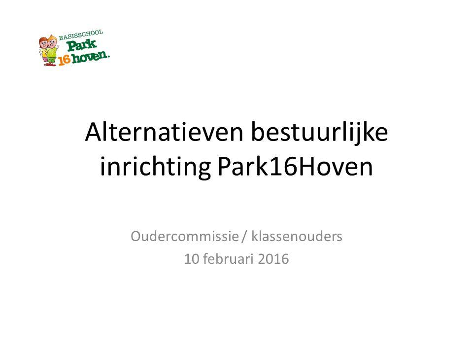 Alternatieven bestuurlijke inrichting Park16Hoven Oudercommissie / klassenouders 10 februari 2016